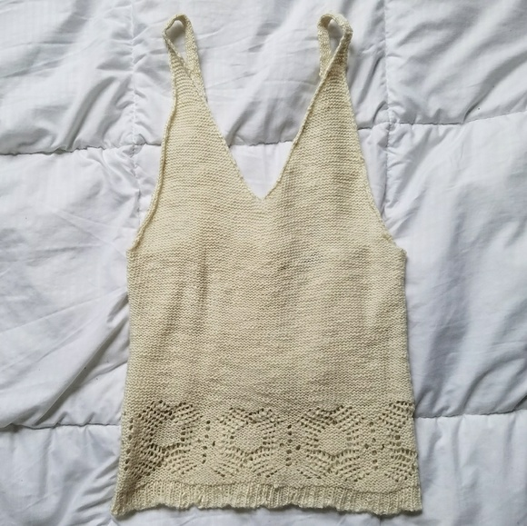 7bfe4c84878ff Brandy Melville Cream Crochet Knitted Tank Top
